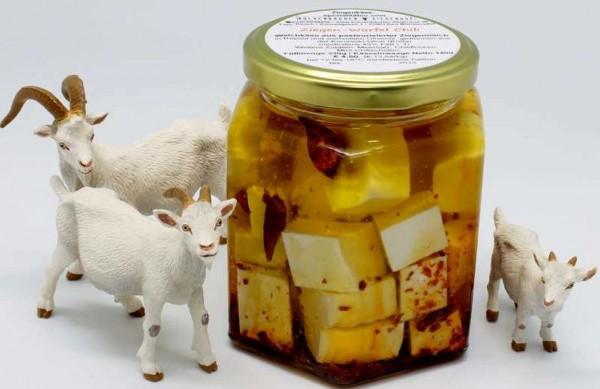 Feta Ziege, 140g in Olivenöl und Chili, Glas 300g , ROHMILCH